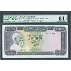 Tripoli, Libya, Central Bank of Libya, 10 dinars, no date (1971), series 1 A/5, certified PMG Choice