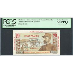 Martinique, Caisse Centrale de la France d'Outre-Mer, 20 francs specimen, ND (1947-49), certified PC