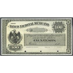 Mexico City, Distrito Federal, Mexico, Banco Nacional Mexicano, 100 pesos front proof, no date 18XX
