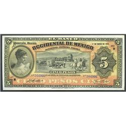 Mazatlan, Sinaloa, Mexico, Banco Occidental de Mexico, 5 pesos, 1-1-1913, series R.