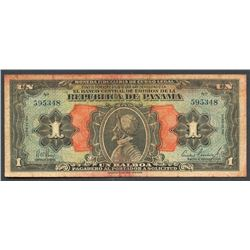 "Panama, Banco Central de Emison de la Republica, 1 peso, series 1941, rare ""Arias"" note."