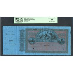 Bilbao, Spain, Banco de Bilbao, 4,000 reales specimen, 18XX, series A, certified PCGS Choice About N