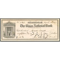 Washington, D.C., USA, Riggs National Bank check for $18.50, signed by Francisco Leon de la Barra, c