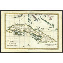 French copperplate-engraved map of Cuba and the Bahamas by Rigobert Bonne, 1780 (Paris), hand-colore