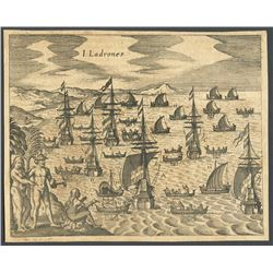 Ca.-1655 German wood-cut engraving showing an island off Panama.