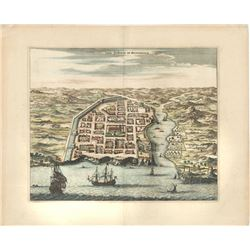 British copperplate-engraved view of Santo Domingo by Arnoldus Montanus and translated in English by