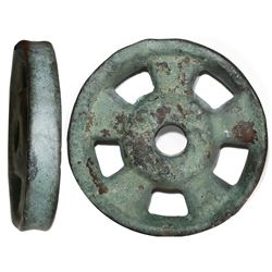Large brass pulley wheel from HMS Tilbury (1757).