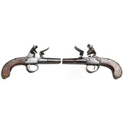 Pair of flintlock screw-barrel pocket pistols signed by Berleur (1780-1840).