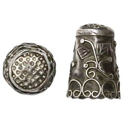 Ornate silver thimble, Spanish colonial, 1500s-1600s.
