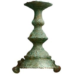 Spanish colonial copper candlestick holder, 1600s, encrusted, one foot missing.