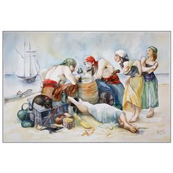 "Original pirate-themed watercolor painting by New York artist Liliya Skubish entitled ""Winner Takes"