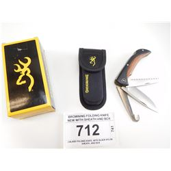 BROWNING FOLDING KNIFE NEW WITH SHEATH AND BOX