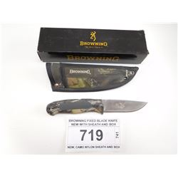 BROWNING FIXED BLADE KNIFE NEW WITH SHEATH AND BOX