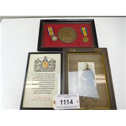 WWI GROUPING OF MEDALS, PHOTO AND PLAQUE OF PTE ALFRED GOODIER CANADIAN INFANTRY BN