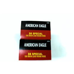 2 BOXES 50 ROUNDS AMERICAN EAGLE .38SPL 158GR LRN