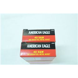 2 BOXES 50 ROUNDS AMERICAN EAGLE .40 S&W 180GR FMJ