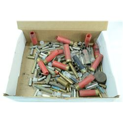 BOX OF MIXED AMMO AND BRASS