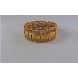 ONE 22KT YELLOW GOLD BANGLE 22MM WIDE WITH FILIGREE LACE PATTERN. WEIGHT 51.90 GRAMS REPLACEMENT