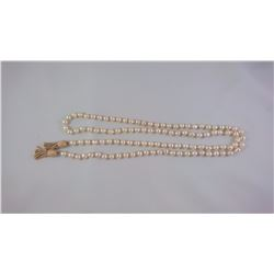 PEARL NECKLACE BAROQUE CULTURED WHITE PEARLS WITH 14KT YELLOW GOLD TASSEL ENDS REPLACEMENT VALUE