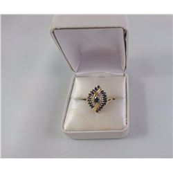 10KT YELLOW GOLD LADIES RING SET WITH 21 MARQUISE CUT BLUE SAPPHIRE TW 4.3 GRAM REPLACEMENT VALUE