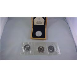 CANADIAN PROOF 1989 CASED $5 SILVER MAPLE LEAF & 1991-93 SILVER MAPLE LEAVES ASW 4 OZ (4 PCS)
