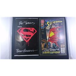 2 SUPERMAN COMICS SIGNED BY BRETT BREEDING ILLUSTRATOR