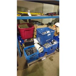 PALLET OF ASSORTED ELECTRICAL, BREAKERS, HARDWARE