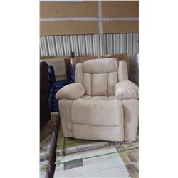 BEIGE SUEDE RECLINING 3 PIECE COUCH, LOVE SEAT AND CHAIR SET