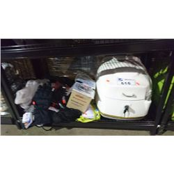 MOTORCYCLE MOUNTED STORAGE COMPARTMENT & MISC GLOVES, BATTERY