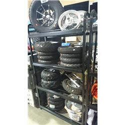 RACK OF ASSORTED TIRES & RIMS