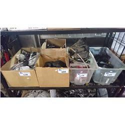 SHELF OF ASSORTED MOTORCYCLE/SCOOTER PARTS