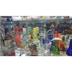 SHELF LOT OF ASSORTED GLASS PIPES/BONGS & ACCESSORIES