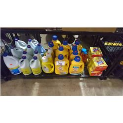 SHELF LOT OF ASSORTED CLEANING SUPPLIES/DETERGENTS