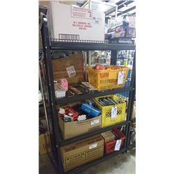 RACK OF ASSORTED STORE PRODUCT, ROLLING TUBES, ETC