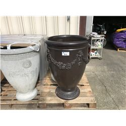 LARGE GARDEN STONE FLUTED CEMENT PLANTER