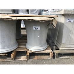 PAIR OF GARDEN STONE SHORT ROUND CEMENT PLANTERS