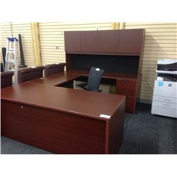 MAHOGANY U SHAPED EXECUTIVE DESK C/W HUTCH