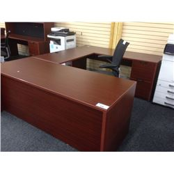 MAHOGANY U SHAPED EXECUTIVE DESK