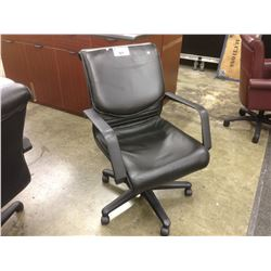 BLACK LEATHER MID BACK EXECUTIVE CHAIR