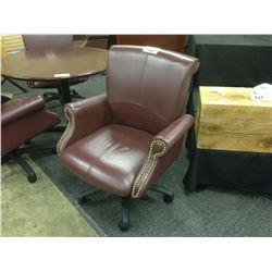 OX BLOOD LEATHER HIGH BACK TRADITIONAL EXECUTIVE CHAIR ON WHEELS