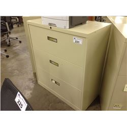 BEIGE  STEELCASE 3 DRAWER LATERAL FILE CABINET