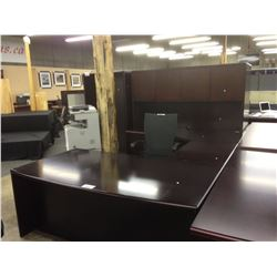 DARK MAHOGANY U SHAPED BOW FRONT EXECUTIVE DESK C/W HUTCH