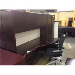 DARK MAHOGANY CORNER EXECUTIVE DESK C/W HUTCH