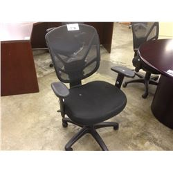 BLACK MESH BACK ADJUSTABLE ARM TASK CHAIR