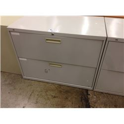 GREY  2 DRAWER LATERAL FILE CABINET