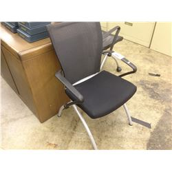 HAWORTH X99 MESH BACK LEATHER NESTING CHAIR NOT MOBILE