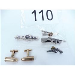 Various tie pins, cuff links