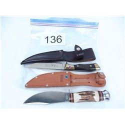 "5 1/2"" Hunting Knife and Stag handle 4 1/2"" knife"