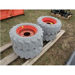 Qty 4  10/16.5 skidloader tires on rims -non marking
