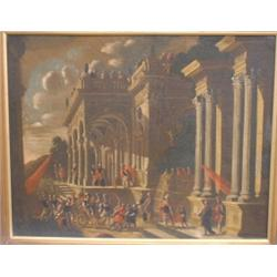 "Attribué à/Attributed to CODAZZI, Viviano, 1604-1670.  ""The Procession Approaching the Palace Ent..."